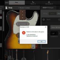 ライブやDTMで便利なLINE6 VARIAXのWORKBENCH HDの画面、エラー表示